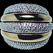 Vintage Massive 18K Gold Diamond  Ring 22gr HEAVY Designer Estate