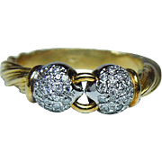Vintage Pave Diamond 18K Gold Ring Band Estate Italy Heavy