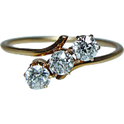 Edwardian Old Miner Diamond 3 stone Past Present Future Ring 18K Gold Estate circa 1890s