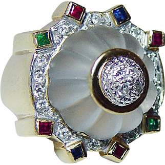 Vintage Diamond Rock Crystal Carved Ring 18K Gold Emerald Sapphire Ruby Estate