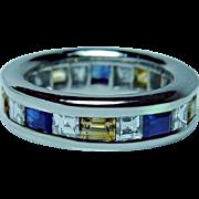 Vintage Platinum Asscher Diamond Sapphire Eternity Ring Estate Sizable 4.25-4.5 Heavy 11gr