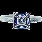 Vintage VS1-G Asscher Diamond French Sapphire Platinum Ring Estate Jewelry