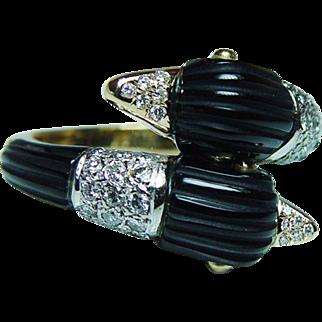 Vintage VVS-F Diamond Swans Swan Ring 18K Gold Estate Designer