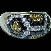 Estate 14K Gold Canary Yellow Black White Diamond Pave Ring   4.5ct