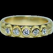 Vintage Diamond Ring Band 18K Gold Estate High Quality