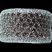 Vintage 3ct Champagne White Diamond Ring 14K White Gold Heavy Estate Jewelry