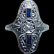 Vintage Old European Diamond French Sapphire Filigree Ring 18K White Gold Estate Jewelry
