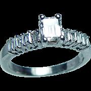 Vintage .50ct center Emerald cut Baguette Diamond Engagement Ring 14K White Gold