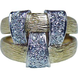 Hammerman Brothers Vintage Diamond Ring 18K Gold Heavy Designer Estate