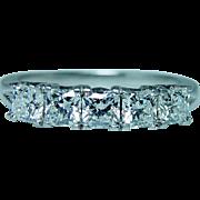 Hearts on Fire Platinum Dream cut Diamond 5 stone Anniversary Ring Band Estate 1.25ct