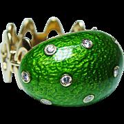 Designer Krementz Diamond Green Enamel Ring 14K Gold HEAVY Vintage Estate