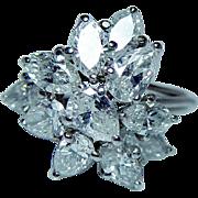 Vintage Kurt Wayne Platinum Marquise Pear Diamond Ring Estate 3.4ct GIA Certified