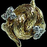 Kurt Wayne Diamond Ring 18K Gold Vintage Designer Signed Estate Heavy 1970