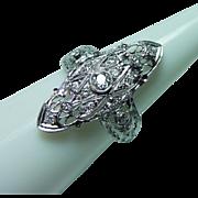 Art Deco Platinum European Diamond Filigree Ring 14K White Gold Estate