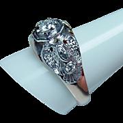 Vintage Diamond Platinum 14K Gold Masonic Mens Ring Heavy Estate