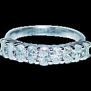 Vintage 1.5ct Oval Diamonds 9 Stone Ring 14K White Gold Designer RLM Estate