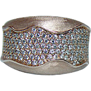 Vintage 14K Rose Pink Gold Diamond Pave Ring Band 1ct Heavy Estate