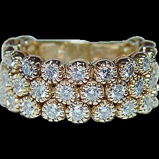 Sonia B Bitton 1.8ct Diamond Ring Band 14K Gold Heavy Flexible Box