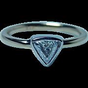 Vintage Diamond Trillion Solitaire 14K Gold Engagement Ring Estate