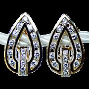 Rich Vintage 1.20ct Diamond Earrings 18K Gold Heavy Estate Jewelry