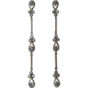 "Vintage Diamond Dangle Earrings 14K Gold Long 2.25"" Estate"