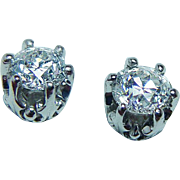 Antique 1.02ct Old European Diamonds Solitaire Stud Earrings Platinum  circa 1910