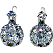 Antique Old Miner Mine Diamond Earrings 18K Gold DORMEUSES French Backs Estate