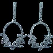 Beverley K Diamond 18K White Gold Dangle Earrings Designer Signed