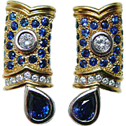 Vintage Designer V. Caparros Sapphire Diamond Earrings 18K Gold Heavy 24gr Signed Estate