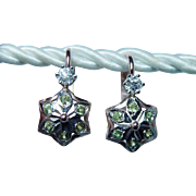 Russian Old Miner Diamond Demantoid Garnet Earrings 14K Rose Gold Estate Czarist