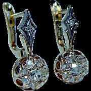 Antique 18K Gold Old Miner Mine Diamond Earrings Dormeuses French Back Estate