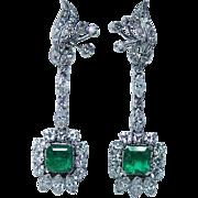"Vintage Emerald 3.30ct Diamond Dangling Earrings 14K White Gold 2"" Long Estate"