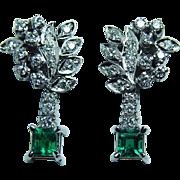 Vintage Gem Emerald Diamond Dangling Earrings 14K White Gold Estate