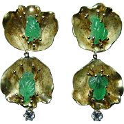 Vintage Carved Emerald Diamond Dangle Earrings 18K Gold Artisan Estate