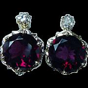Antique Miner Diamond Rhodolite Garnet 14K Gold French Back Earrings Estate Dormeuses