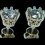 Vintage 18K Gold Miner cut European Diamond Solitaire Stud Earrings 1.54ct
