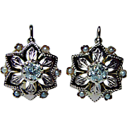 Antique Old Miner Mine Diamond Earrings 18K Rose Gold French Backs Estate
