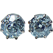 Antique .70ct Old Mine Miner Cushion Diamond Solitaire Stud Earrings 14K Gold Estate circa 1910