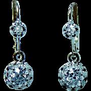 French Victorian Old Miner Mine Diamond Earrings 18K Gold DORMEUSES Estate