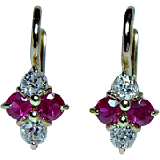 Antique 18K Gold Old Miner Diamond Ruby Earrings DORMEUSES Estate