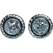 Antique Old Miner Cushion Diamond Solitaire Stud Earrings 1.10ct 14K Platinum