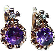 Russian Soviet USSR Vintage Siberian Amethyst Diamond Earrings 14K Pink Gold Estate