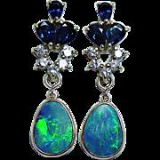 Vintage Diamond Sapphire Opal Gem Earrings 14K Gold Dangle Estate