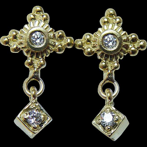 Vintage Diamond Dangle Earrings 18K Gold Designer Estate ...