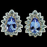 Vintage Tanzanite Diamond Earrings 14K Gold Omega Estate Jewelry