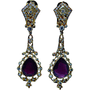 Vintage 8.25ct Ruby Diamond Earrings 18K Gold Estate Long Dangle Heavy GIA