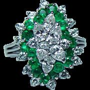 Vintage 2.6ct Emerald VS-G Pear Diamond Ring Platinum Estate