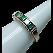 Vintage Princess Diamond Emerald Anniversary Ring 14K Gold VS-HI Estate