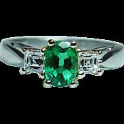 Vintage Colombian Emerald VVS1  F Asscher Diamond 14K Gold Platinum 3 stone Ring Estate