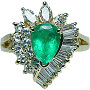 Vintage Colombian Emerald Baguette Marquise Diamond Ballerina 18K Gold Ring Designer Signed